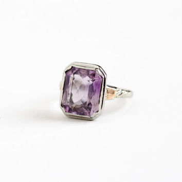 Antique 10k White Gold 5+ Carats Amethyst Ring - Vintage Art Deco Size 7 1920s 1930s February Birthstone Fine Faceted Purple Gem Jewelry