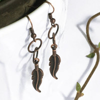 Antique copper feather earrings. Feather charm. Handmade Lightweight Dangly. Boho jewelry. Feather pendant. Tribal earrings. Gift for wife.