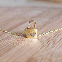 Love Lock Necklace - Gold Lock, Gold Filled Necklace, Minimalist Jewelry, Simple Daily Necklace, Gift for Best Friend, Dainty Jewelry, Love