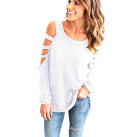 Women 2017 Gray Young Kawaii' Scoop Neck Hollow Out Long Sleeved Cotton Tops