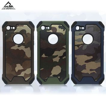 Lizardhill Army Camo Camouflage back cover Hard PC+ Soft TPU Armor protective phone cases for iPhone 5s 6 s 6s plus 7 plus coque
