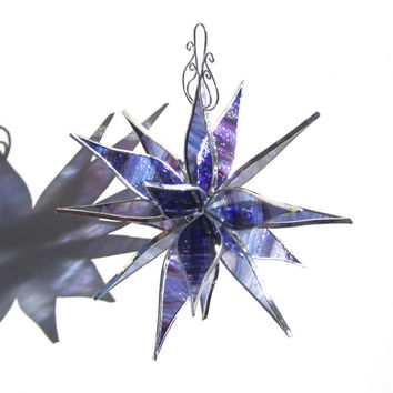Midnight Blast - 3D Stained Glass Flower Burst - Large Abstract Home Garden Decoration Suncatcher Exploding Petals Blue Purple Yard Art