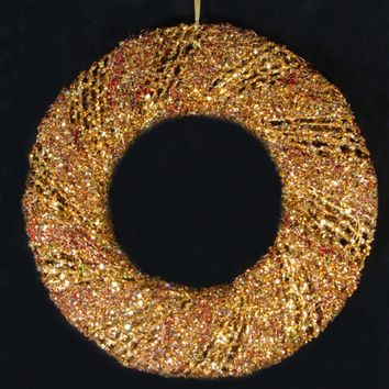 "24"" Sparkling Gold Glitter & Burgundy Beaded Decorative Christmas Wreath - Unlit"