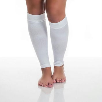 Remedy Calf Compression Running Sleeve Socks - Medium-White