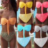 Fashion, hot drill, chest impact, color separation, three point Bikini Bathing Suit