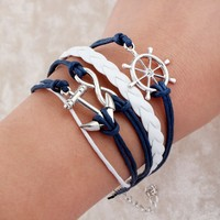 Handmade Wristband Bradided Wax Cords Infinity Love cross Anchor Owl Leather
