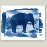 Blue Elephant Art Print by portraitofnature on BoomBoomPrints