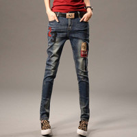 New Spring  Women Jeans Ripped Harem jean Pants Vintage Jeans Patchwork Cross Denim Trousers Loose Jeans clothes