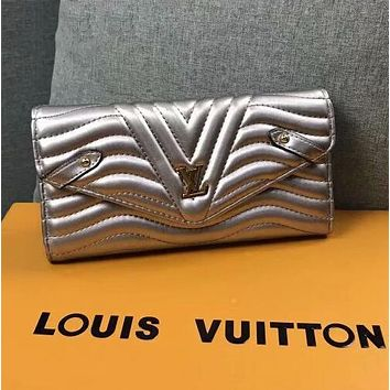 LV Louis Vuitton Popular Women Leather Buckle Purse Wallet Silvery
