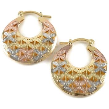 Tricolor Filigree Flower 18Kts of Gold Plated Earrings Hoops