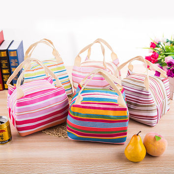 Fashion Insulated Thermal Cooler Striped Lunch Bag Travel Bag Picnic Carry Tote Case