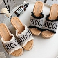 """GUCCI"" Newest Popular Women Diamond Thick Soles High Heels Sandals Slippers"