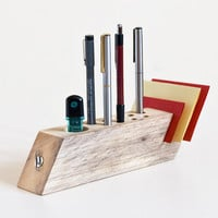 Desk Organizer Salvaged Wood Pen Holder Modern Office Organisation FELIX
