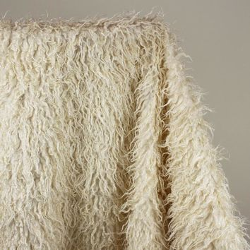 "Ivory Mongolian Curly Sheep Faux Fur Fabric  Faux Vest  Fur Coat   Baby Photography Props 60"" wide Sold By The Yard"