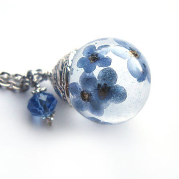 Beautiful Forget me Not Resin Pendant Necklace Sphere  - Flowers encased in resin orb, Pressed Flower Jewelry
