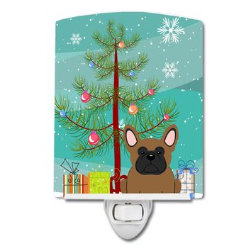 Merry Christmas Tree French Bulldog Brown Ceramic Night Light BB4138CNL