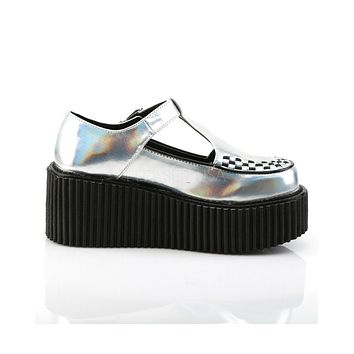 Holographic Silver T-Strap Creepers