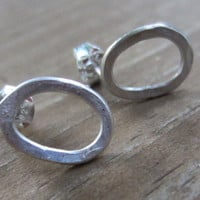 Little Circle Posts, Small Silver Circle Earrings, Recycled Silver
