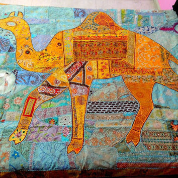 Queen Camel Indian Embroidered Bedspread Bedding, Indian Bedspread, Bed Cover, patchwork Bedspread, Bed Cover Bedding Tapestry