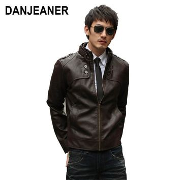 Danjeaner 2018 New Men Leather Slim Jackets High Quality Motorcycles Style Businessmen Casual Fashion Military Tactical Jacket