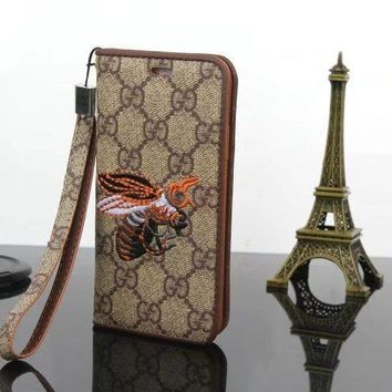 GUCCI Embroidery Flip Phone Cover Case For iPhoneX iphone 6 6s 6plus 6s-plus 7 7plus 8 8plus
