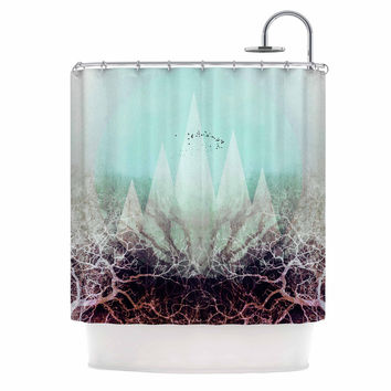"Pia Schneider ""TREES Under MAGIC MOUNTAINS VI"" Teal White Shower Curtain"