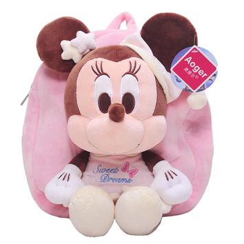 30cm/35cm High-quality Mickey and Minnie Mouse Plush Toy Backpack Children Backpack for Children Birthday Gift