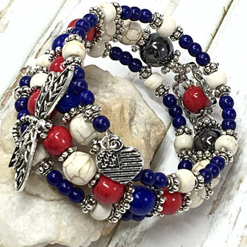 Patriotic Bracelet - 4th of July Bracelet - Red White & Blue Bracelet - Americana Bracelet - American Flag Bracelet - Memory Wire Bracelet