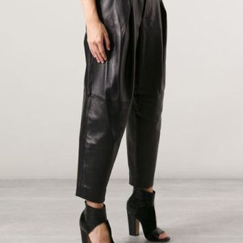 Vintage Black High Waist Leather Slouchy Trousers Pants Jeans