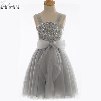 Vestidos de Primera Comunion Cheap Gray Sequin Spaghetti Straps Flower Girl Dresses 2017 Pageant Dresses for Little Girls