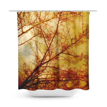 Gothic Red Trees Shower Curtain
