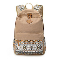 Women's Khaki Polka Dots Backpack for College Bookbag for Teen Girls School Bag + Free Gift Elephant Ring