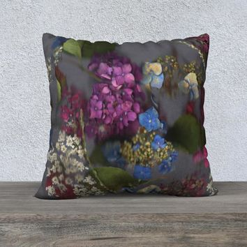 22x22 Flowered Pillow Cover - Purple and Blue Hydrangea Flower Collage Pillow Cover - Floral Accent Throw Pillowcase