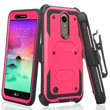 LG K10 (2018) Case, K30, Premier Pro, K10 Plus, K10α, X4 Plus, X410, MS245, Triple Protection 3-1 w/ Built in Screen Protector Heavy Duty Holster Shell Combo Case - Hot Pink
