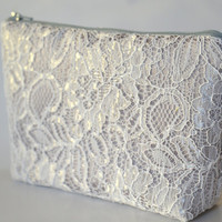 Satin Lace Clutch in Grey Bridesmaid Clutch Makeup Bag Cosmetic Case Accessories Pouch Wedding Gift Zippered Satin Lace Flat Bottom Clutch