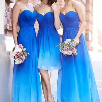 Sltrapless Prom Dress, Blue Prom Dresses,Long Evening Dresses