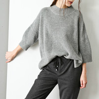 Cashmere Blend Crewneck Midi Sleeves Sweater TP0363