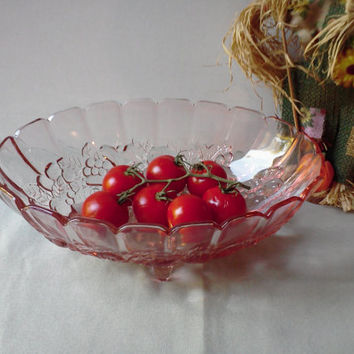 Depression Glass MINT Pink Footed Fruit Bowl NIB Indiana Galss Garland or Harvest Grape Pattern Compote Centerpiece  Serving Fruit
