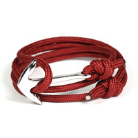 Silver Anchor on Maroon Rope