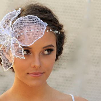 Bridal Tulle Flower Birdcage Veil With Detachable Crystal Headband- Delilah