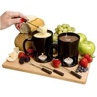 Evelots Set Of 2 Personal Fondue Mugs Set, 8 Tea Lights Included, Black Or White