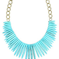 Turquoise Spike Bib Necklace Antique Gold Tone Fashion Jewelry NN46