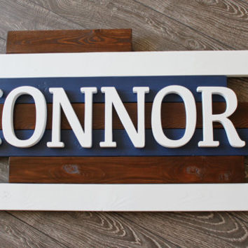 Connor Wooden Name Sign, Wooden Nursery Decor, Wooden Name Plaque, Boy, Above Crib Name Sign, Wooden Wall Art, Wooden Name Plaque, Custom