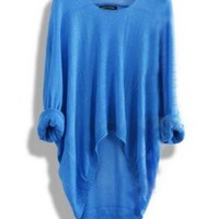 Blue Batwing Casual Loose Asymmetric Sweater