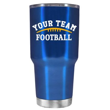 TREK Custom Football Team on Translucent Blue 30 oz Tumbler Cup