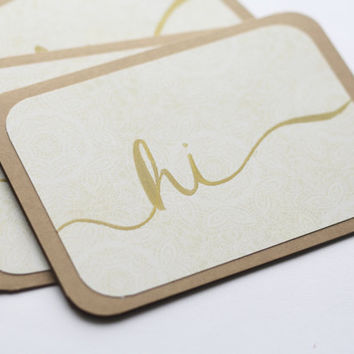 Hand Lettered Note Cards - Hi in Ivory & Gold