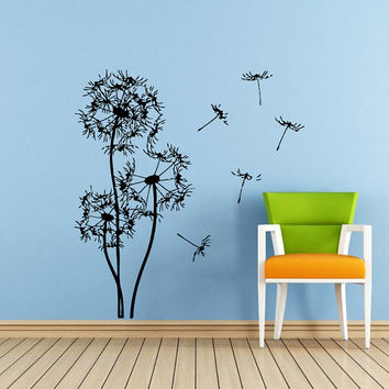 Wall Decals Vinyl Sticker Decal Murals Dandelion in the Wind Flower Nature Plants Grass Forest Home Decor Nursery Bedroom Murals SV6050