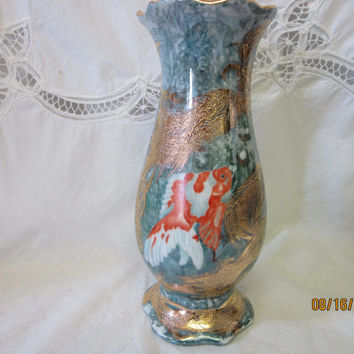 VASE Gold Fish Koi with Luster and Gold trim, Aqua background, Porcelain Ceramic Pottery Hand painted kiln fired By B Marsh