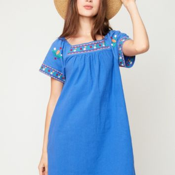Baja Cotton Tunic Dress - Denim Blue