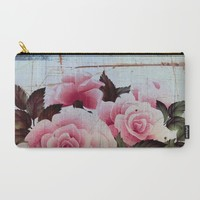 pink rose on old tile Carry-All Pouch by Clemm